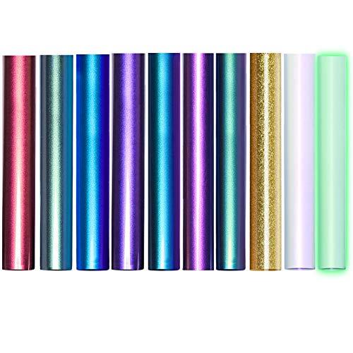Jodimitty 10 Pack Vinylfolie Plotter Plotterfolie Textil, DIY Textil Folie im Set Vinyl zum Plotten, Wärmeübertragung Bastelfolie Vinyl Folie Klebefolien zum Basteln Plotten Selbstklebend(Bunt)
