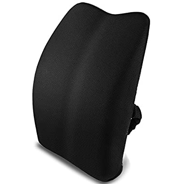 Memory Foam Lumbar Support Back Cushion Pillow for Lower Back Pain Properly Align the Spine, with Insert and Strap for Home Office Chair Sofa couch Car Black