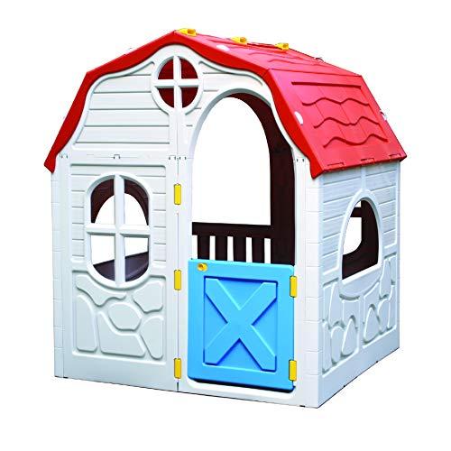 Kreher XL Faltbares Kinderspielhaus, Spielhaus, Gartenhaus aus robustem Kunststoff. Maße: 98 x 91 x 115 cm (BxTxH) mit faltbares System, top!