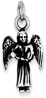 925 Sterling Silver Angel Pendant Charm Necklace Religious Fine Jewelry For Women