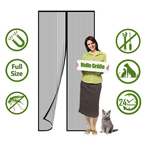 Flei Magnet Fliegengitter Tür, Insektenschutz Magnet Fliegenvorhang, Auto geschlossen, faltbar, for Türen/Patio - Schwarz 115x245cm(45x96inch)