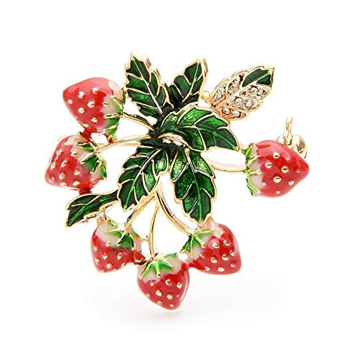COLORFULTEA Strawberry Tree Brooches Women Fruits Weddings Banquet Brooch Pins New Year Gifts