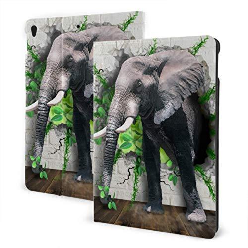 Protective iPad 2019 iPad Air3/2017 iPad Pro 10.5 Inch Case/2019 iPad 7th 10.2 Inch Case Huge Grey Elephant With Two Ivory iPad Covers Auto Wake/sleep