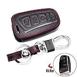 Funda de Cuero para Llave de Coche 4 Botones Smart Remote Fob Shell Cover Keychain Protector Bag, para Hyundai Azera Equus Genesis Santa Fe