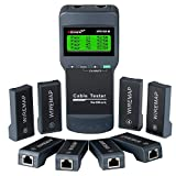 VXSCAN Network Cable Tester, Network Cable Length Tester Meter for Cat5, Cat6, 5e, 6e Locate The Breakage Point, Length Measurement, Continuity Checking with 8 Remote Units