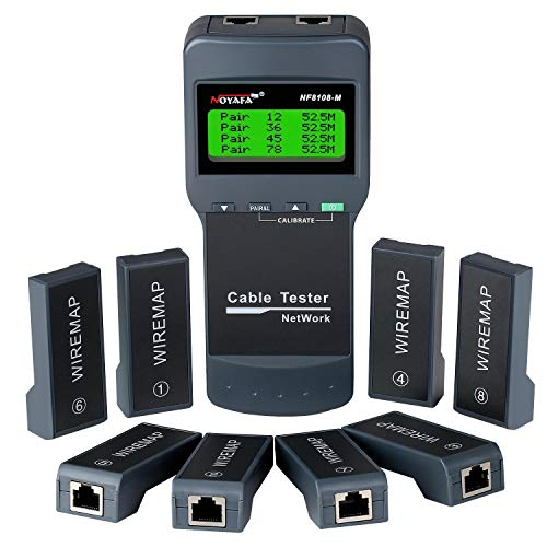 Network Cable Tester - NOYAFA Cable Wire Fault Finder for RJ45 Cat5, Cat6, 5e, 6e Measure Length, Locate the Breakage Point, Check Wiring Error with 8 Far-end Passive Test Jacks