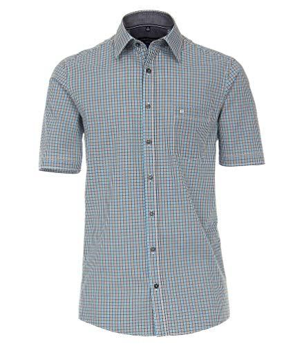 Casa Moda - Comfort Fit - Herren kurzrarm Freizeit Hemd kariert mit Kent Kragen (903444600), Farbe:Türkis (350), Größe:L