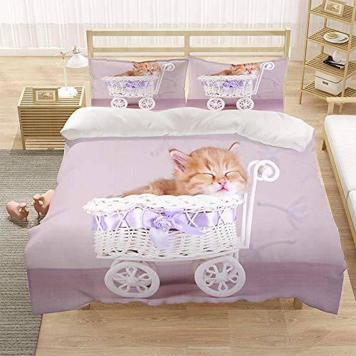 Bedclothes-Blanket Cubierta de la Cubierta del edredón para niños 3D Cubierta de Cama de 3 Piezas Super King Tamaño Animal Cat Blue Eye Eye Eye Funda de Cama con Cierre de Cremallera-6_228 * 264cm