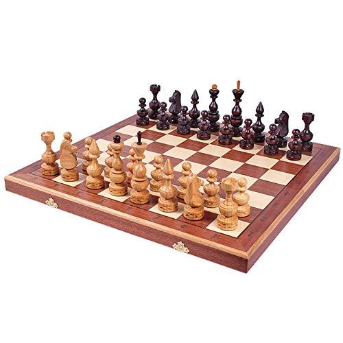 Juego de ajedrez de entretenimiento de ajedrez int Juego de tableros de ajedrez de madera para adultos y niños de lujo grande tablero de madera plegable de tablero de madera plegable Juguete de regalo