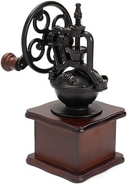 SKJK Manual Coffee Grinder Vintage Style Hand Crank Grinder Built of Wood, Ceramic Core & Cast Iron