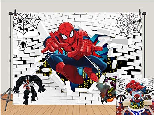 Spiderman Theme Photo Backdrops Superhero White Brick Wall Boys Baby Shower Birthday Party Photography Background Superhero Super City Cake Tale Decor Banner Studio Booth Props 5x3ft