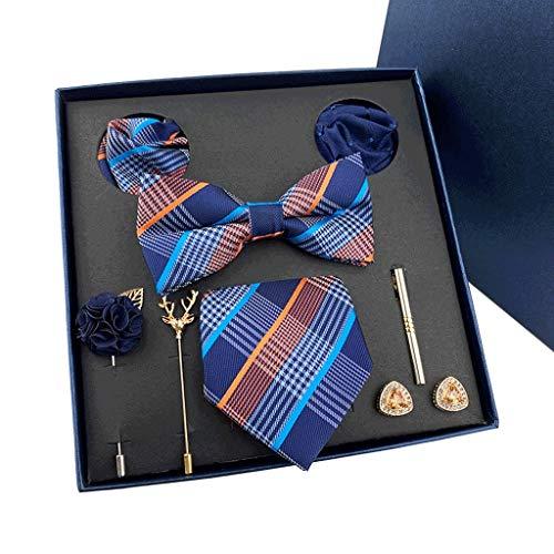 DYXYH New Mens Corbatas Regalos Cajas Tie de Boda Bowtie Pocket Towel Broche Gemelos Conjunto de 8 Piezas Regalo para Padre y Marido (Color : C)