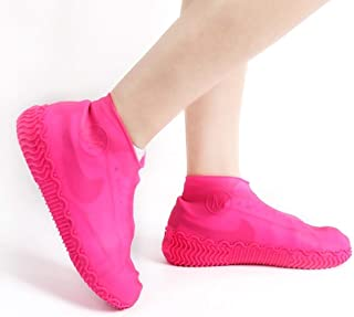 Silicone Rain Boots, Student Silicone Waterproof Rain Boots, Portable Pocket Slipper Cover JCCOZ (Color : Pink, Size : S)