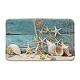 Seashell Tapis de bain en forme d'étoile de mer Motif étoiles de mer Bleu en microfibre à mémoire de forme pour salle de bain Décoration de salle de bain avec dos antidérapant 40,6 x 61 cm