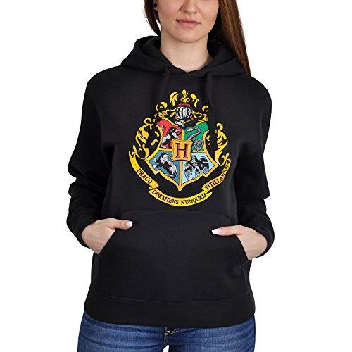 Felpa con cappuccio Harry Potter - Stemma di Hogwarts - nera - S