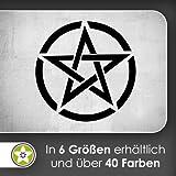Pentagram im Kreis Wandtattoo in 6 Größen - Wandaufkleber Wall Sticker