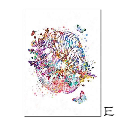 XQWZM Vintage Poster, Anatomisches Organ Menschliche Anatomie Print Malerei Gehirn Herz Lunge Anatomie Wandkunst Bild, Für Medical Room Decor 40X60 cm