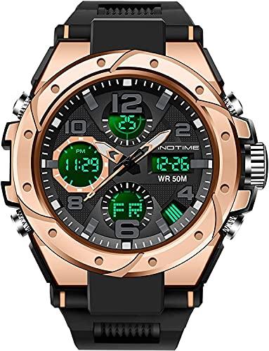 YQCH Reloj Militar Deportivo para Hombre Cronómetro 5ATM Reloj Impermeable Dual Time Tactical Digital Alarma al Aire Libre Relojes Deportivos para Hombres (Color : Rose Gold)