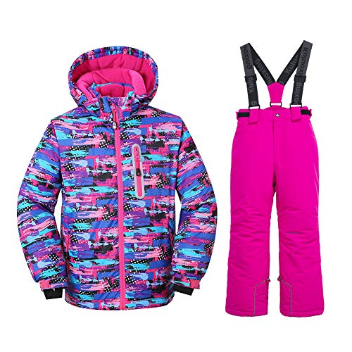 HOTIAN Girls Windproof Snow Jacket Insulated Ski Jacket + Pants Snowsuit (Size US 4 - US 16) (US 14 (Height 151CM ), style3)