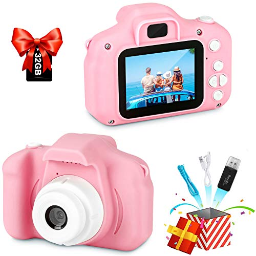 Digital Camera for Kids, Best Birthday Gifts for Kids Selfie Camera, HD Digital Video Cameras for Toddler, Portable Kids Toy for 3 4 5 6 7 8 9 Year Old Girls and Boys with IPS Screen and 32GB SD Card