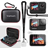 Vamson for Gopro Hero 9 Black Mini Travel Carrying Case Waterproof Portable Protective Carry Case Silicone Protective Cover Case and Lens Screen Tempered Glass for Go Pro 9 Black AVS15