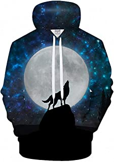 MIGAGA Enjoy Moon Premium 3D Hoodie Men Sweatshirt Wolf Pullover Novelty Tracksuit Boy Coat
