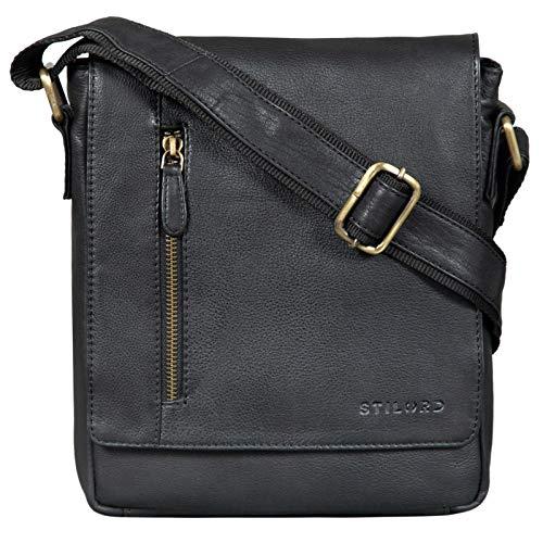 STILORD 'Easton' Borsa Messenger Piccola in Pelle Borsello Uomo Cuoio con Tracolla per Tablet da 10,1 Pollici Viaggio, Colore:nero