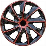 EET 15 Zoll Satz Radkappen Rot Schwarz Car Wheel Trims Hubcaps Mit Metallischem Glanz Und Alloy Look Radzierblenden Universal Fit for...