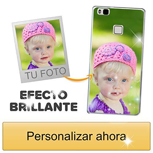 Funda móvil Personalizada con Efecto Brillante para Huawei P9 Lite con Tu Foto, Imagen o Frase - Funda Blanda en TPU Gel Transparente - Impresión de máxima Calidad