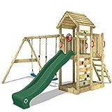WICKEY Parque infantil de madera MultiFlyer con columpio y tobogán verde, Torre...
