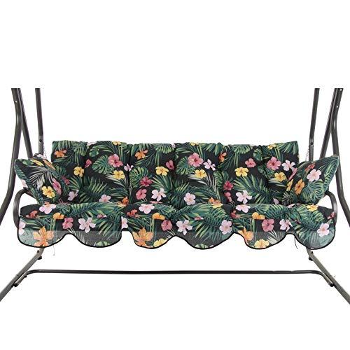 PATIO Auflagen Set Bora für Hollywoodschaukel Polsterauflage Sitzkissen Rückenkissen Seitenkissen Gesteppt G029-07PB 170 cm (schwarz/grün/rosa/gelb)