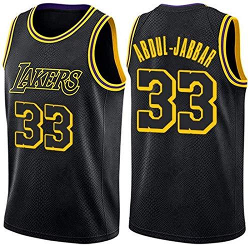 XHDH Jerseys De Baloncesto De Los Hombres- NBA Lakers # 33 Abdul-Jabbar - Chaleco Transpirable Comfort Camiseta Sin Mangas Uniformes Tops,Negro,M 170~175cm