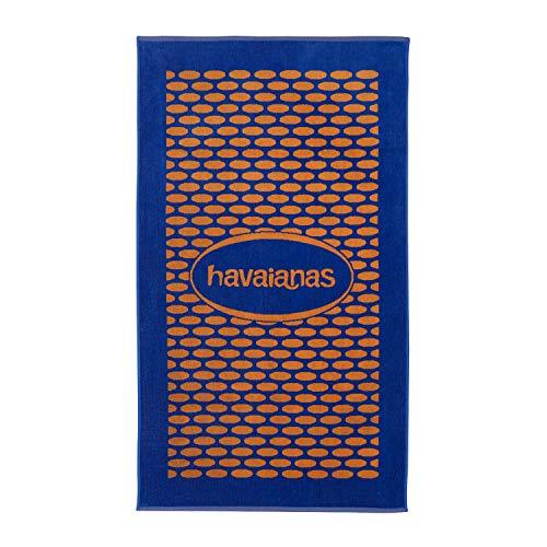 Havaiana HAV zweifarbiges Velours-Handtuch mit Logo, Orange/Blau, für Freizeit und Sport, für Erwachsene, Unisex, Rosa (Black/Steel Grey/Black), Einheitsgröße