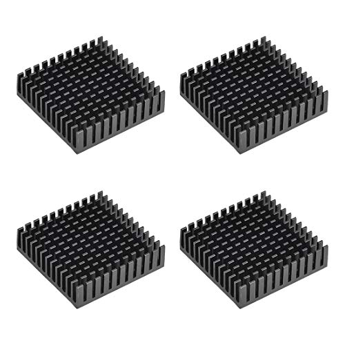 sourcing map 11x40x40mm Black Aluminum Heatsink Thermal Adhesive Pad Cooler for Cooling 3D Printers 4Pcs