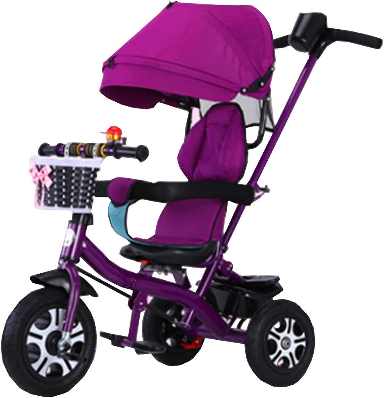 Dreirder Kinder Trikes mit Vollreifen 4-in-1 für 6 Monate bis 6 Jahre alt Junge und Mdchen Dreirad mit Markise Sitz drehbar Reiten im Freien für Kinder (Farbe   lila)