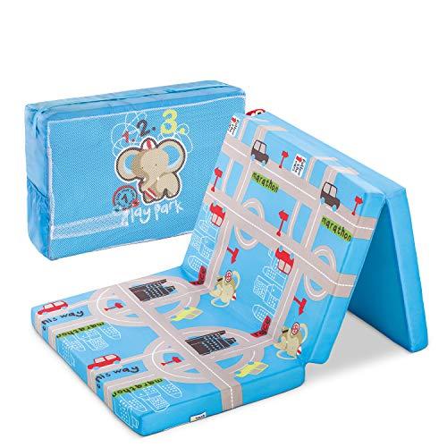 Hauck Sleeper Reisebett-/Schaumstoff Matratze, 60 x 120 cm, 6 cm hoch, 3-teilig zusammenklappbar, faltbar, waschbar, inkl. Transporttasche, Hippo (blau)