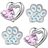 2x Kinder Ohrringe 925 Sterling Silber mit Zirkonia Mädchen Ohrstecker irisierend Pfote Pfötchen rosa Herz K733+K710