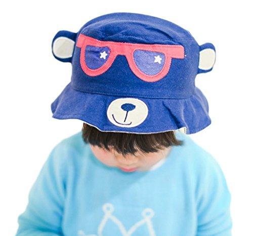 Bigood Chapeau Enfant Fille Garçon Coton Ours Imprimé Soleil Eté Tour de Tête 52cm