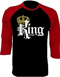 King and Queen Baseball Shirts Couple Matching Raglan 3/4 Sleeve T-Shirts
