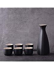 1 Olla de Vino Juego de 6 Tazas de Vino Cerámica Vintage 25ml-250ml Jarra de Sake Vasos Regalo para el hogar Licores Vino de arroz Vodka Vino (Color: Triángulo 6 Taza Negro)