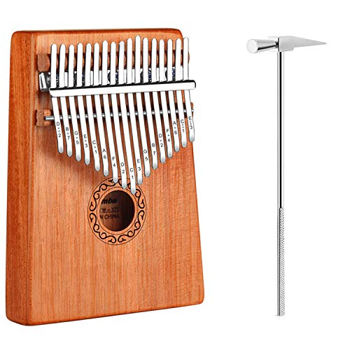 iheyfill Kalimba 17 Schlüssel, Kalimba Daumenklavier, Finger Klavier, Mini Thumb Piano Kalimba Instrument mit Daumen Schutz,Stimmhammer, Tragetasche