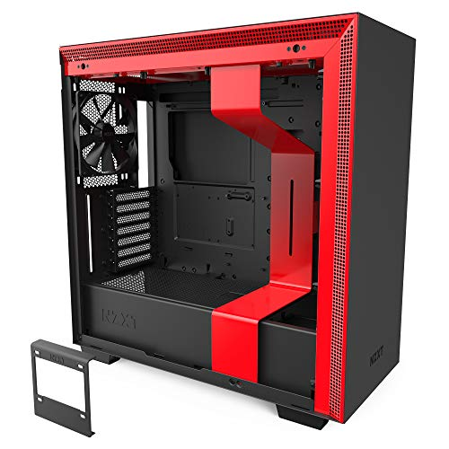 NZXT H710 - ATX-Mid-Tower-Gehäuse für Gaming-PCs - Front I/O USB Type-C Port - Tempered Glass-Seitenfenster mit Schnellspanner -  Für Wasserkühlung nutzbar - Schwarz/Rot
