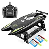 RC Boat 2.4Hz Remote Control Boats for Adults and Kids 20+ MPH High Speed Boat Ship Dual Motors Self-Righting Racing Boat Pools and Lakes Toys for 3 4 5 6 7 8 Year Old Boys Gifts (Black)