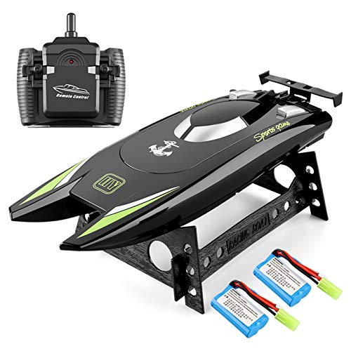 RC Boat 2.4Hz Remote Control Boats for Kids and Adults 20+ MPH High Speed Ship Dual Motors Self-Righting Racing Boat Pools and Lakes Toys for Boys Kids Gifts (Black)