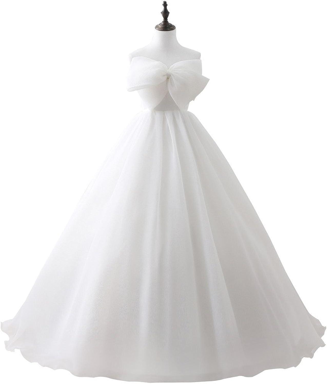 PuTao Women's Bow Tie White Bride Wedding Bridesmaid Gowns