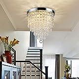 Depuley Crystal Chandelier Light Fixture, 3 Lights Mini Crystal Flush Mount Ceiling Light, H 9.4'' x W 9.8'' Modern Crystal Pendant Ceiling Lamp for Bedroom, Hallway, Bar Lighting (Bulbs Not Included)