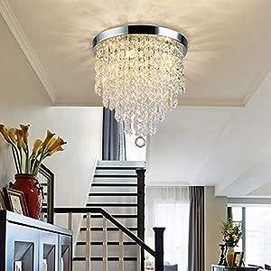 Depuley 3 Lights Crystal Chandelier Light Fixture, Mini Crystal Flush Mount Ceiling Light, H 9.4'' x W 9.8'' Modern Crystal Pendant Ceiling Lamp for Bedroom, Hallway, Bar Lighting (Bulbs Not Included)