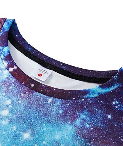 Idgreatim Mens Universe Space Digital Printed T-Shirt Short Sleeve Graphic Shirts