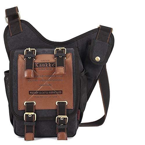 Leinwand Leder Schultertaschen Herren Militär KAUKKO Patchwork Tasche Versipack Umhängetasche Handtasche Brusttasche Cross-Body Messenger Bags Shoulder Bag (FH03B)