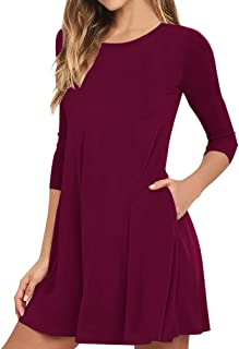 VIISHOW Women's Casual Plain Simple T-Shirt Pockets Loose Dress (M, Wine Red)